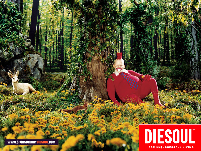 Parody of Diesel's clothing advertisement by Nikolas Schiller