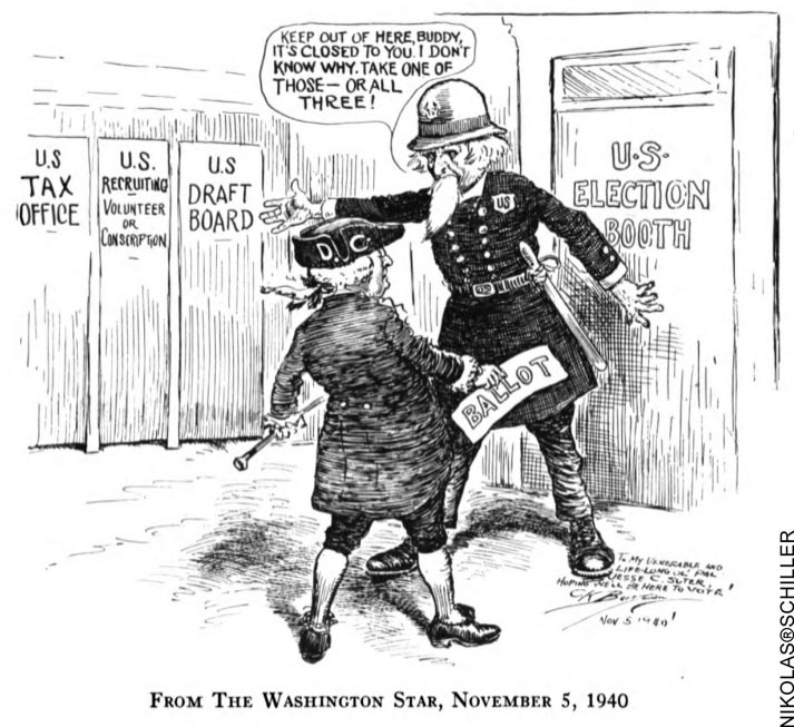 DC Colonist Cartoon published on election day November 5, 1940 in the Washington Star