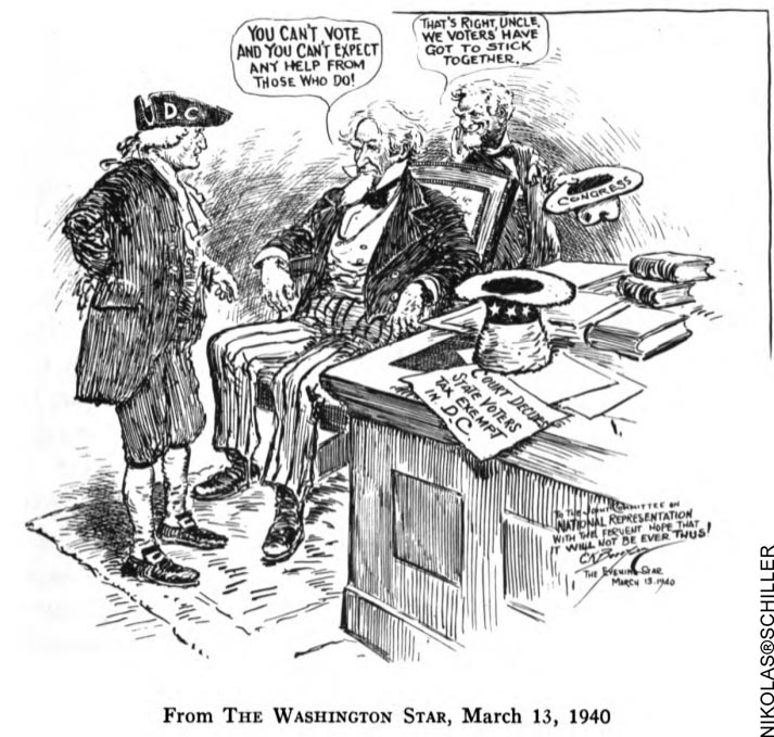 DC Colonist Cartoon published on March 13, 1940 in the Washington Evening Star