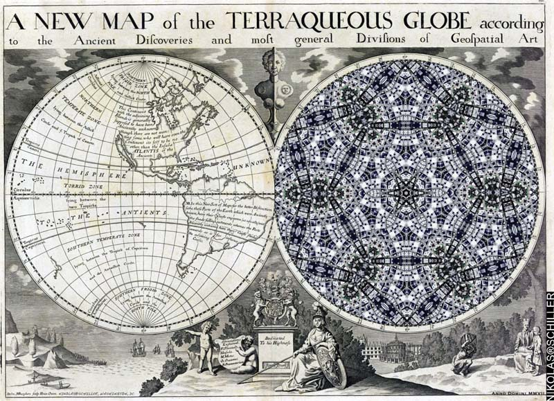 A New Map of the Terraqueous Globe : according to the the Ancient discoveries and most general Divisions of Geospatial Art by Nikolas Schiller